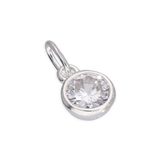 Sterling Silver 5mm Clear CZ Crystal Rubover Charm