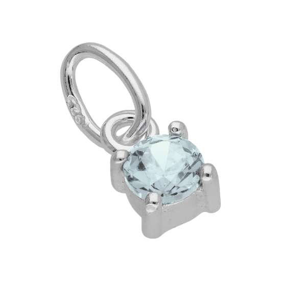 Sterling Silver Aquamarine CZ March Birthstone Claw Charm