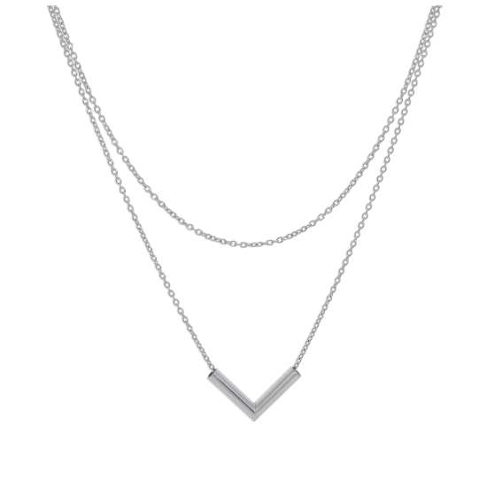 Sterling Silver Double Layer V Bar 16 Inch Necklace