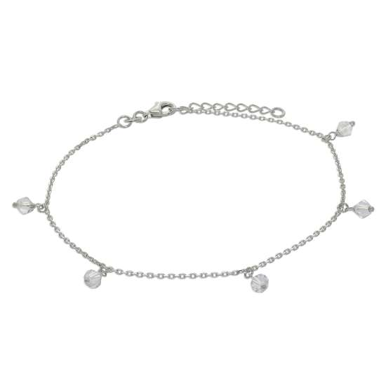 Sterling Silver Clear Crystal Drop Adjustable Anklet