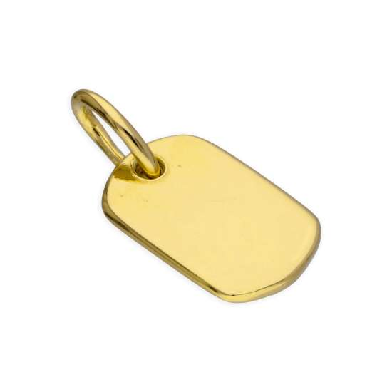 Small Gold Plated Sterling Silver Dog Tag Charm