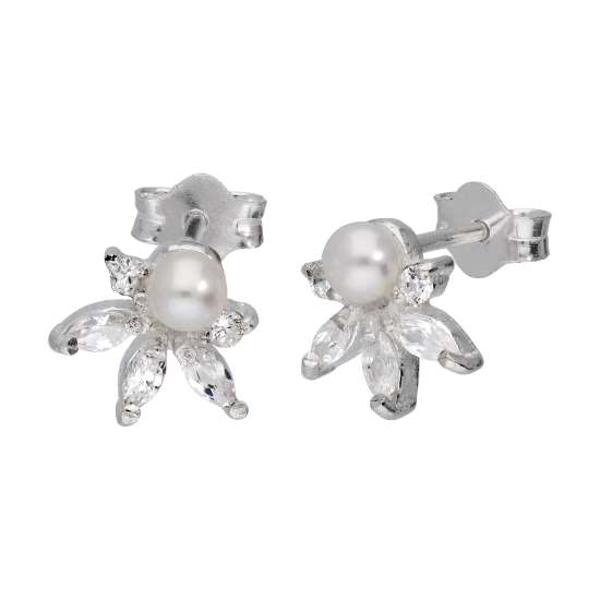 Sterling Silver Clear CZ Flower Freshwater Pearl Stud Earrings