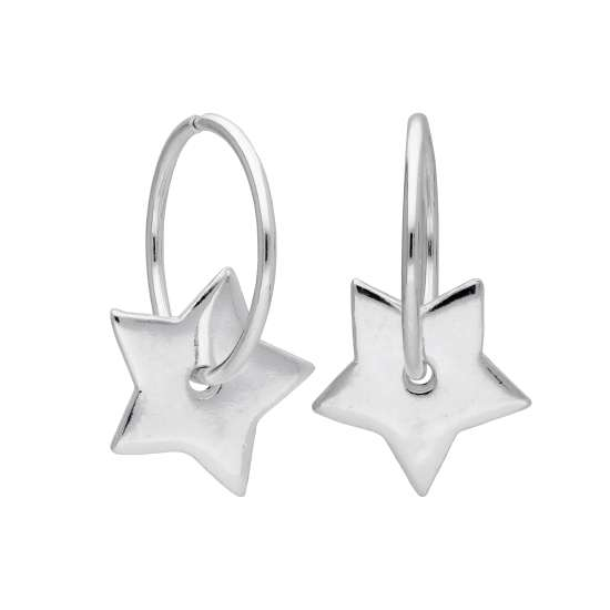 Sterling Silver Floating Star Charm Hoop 12mm Earrings