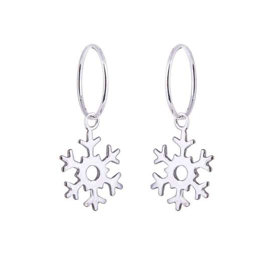 Sterling Silver Snowflake Charm Hoop 12mm Earrings