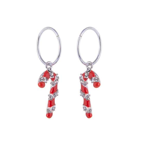 Sterling Silver Candy Cane Charm Hoop 12mm Earrings