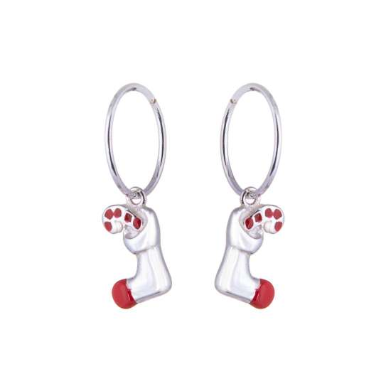 Sterling Silver Stocking & Candy Cane Charm Hoop 12mm Earrings