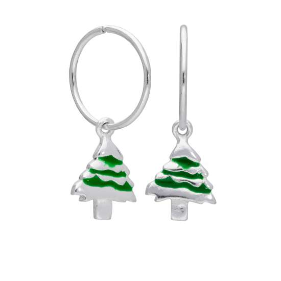 Sterling Silver Christmas Tree Charm Hoop 12mm Earrings