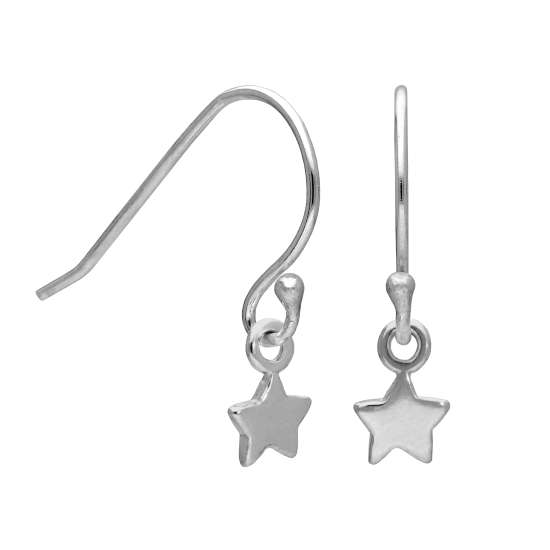 Sterling Silver Tiny Star Fish Hook Earrings