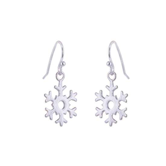 Sterling Silver Snowflake Charm Fishhook Earrings