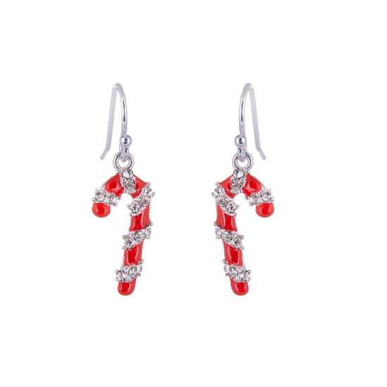 Sterling Silver & CZ Crystal Candy Cane Fishhook Earrings
