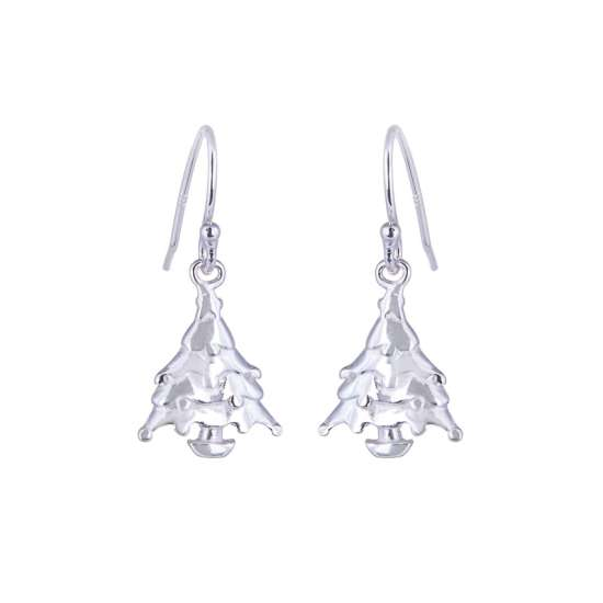 Sterling Silver Christmas Tree Fishhook Earrings