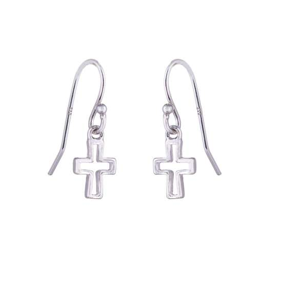Sterling Silver Cross Outline Charm Fishhook Earrings