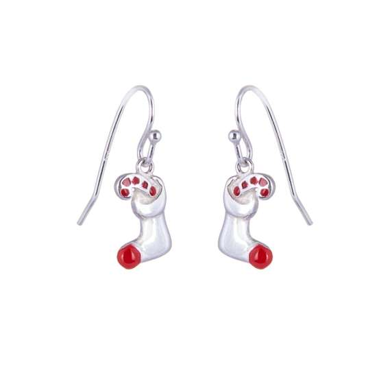 Sterling Silver Stocking & Candy Cane Charm Fishhook Earrings