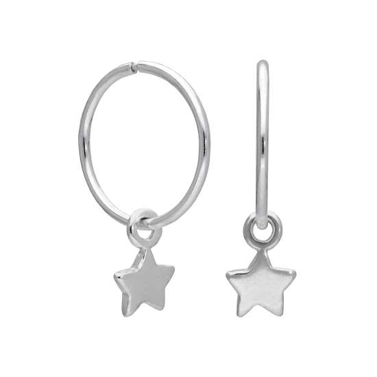 Sterling Silver Tiny Star Charm Hoop 12mm Earrings