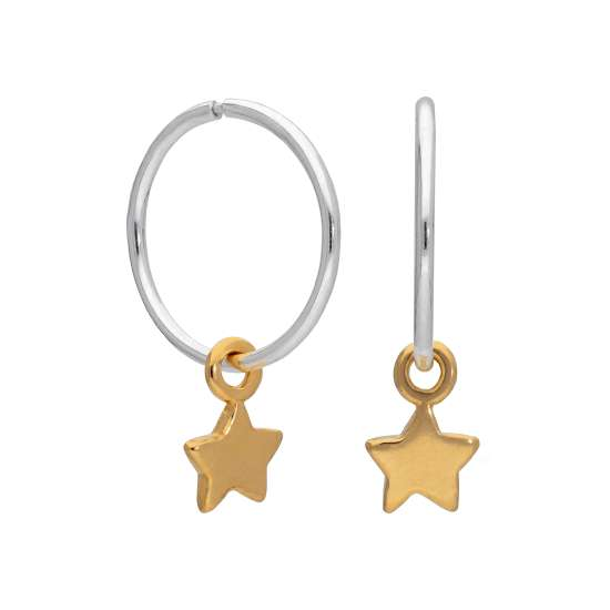 Gold Plated Sterling Silver Tiny Star Charm Hoop 12mm Earrings