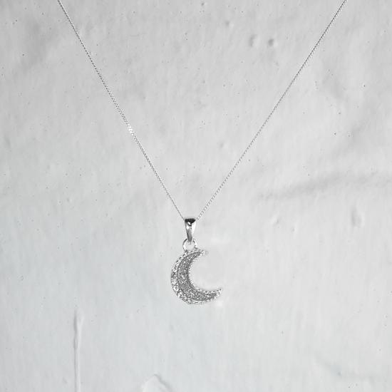Sterling Silver Frosted Moon Clear CZ Necklace - 16 - 32 Inches