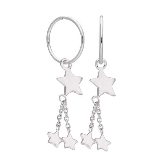 Sterling Silver Multi Star Dangle 12mm Charm Hoop Earrings