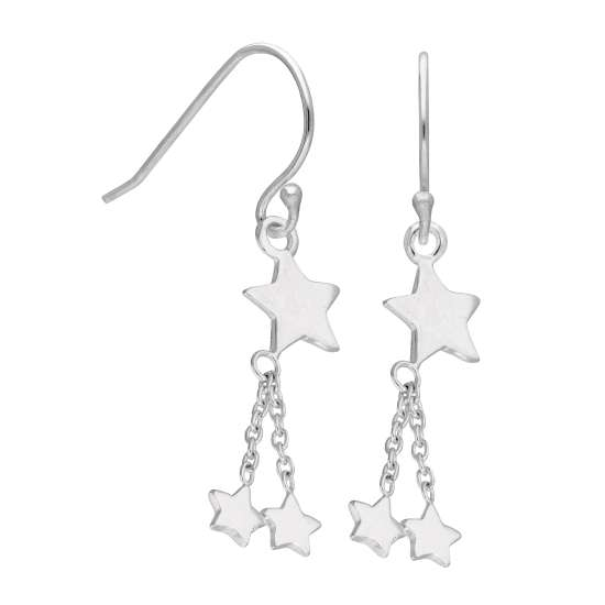 Sterling Silver Multi Star Dangle Fish Hook Earrings