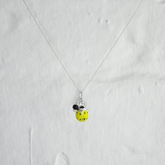 Sterling Silver & Yellow Enamel Ladybird Necklace - 16 - 32 Inches