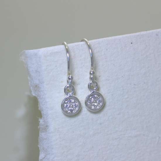 Sterling Silver Clear CZ Pave Round Drop Fish Hook Earrings