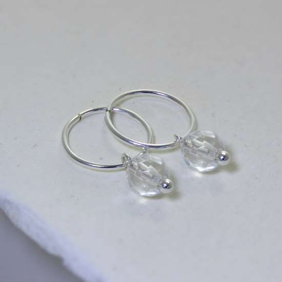 Sterling Silver Faceted Crystal Bead Charm Hoop 12mm Earrings