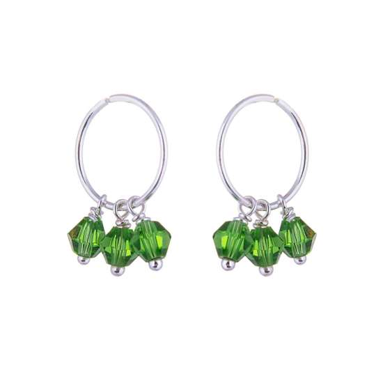 Triple Sterling Silver Green Crystal Charm Hoop 12mm Earrings