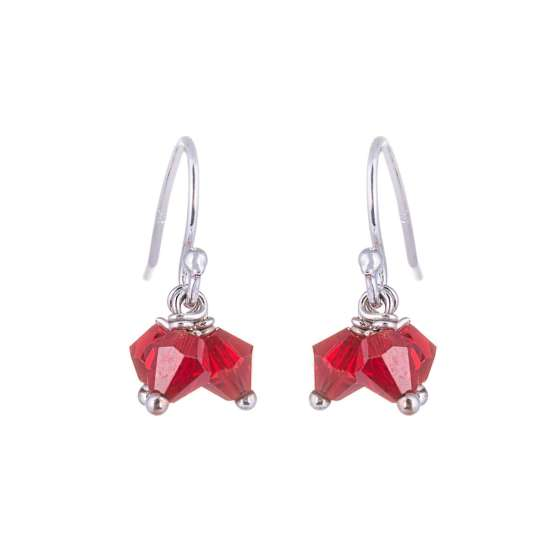 Triple Sterling Silver Red CZ Bead Fishhook Earrings