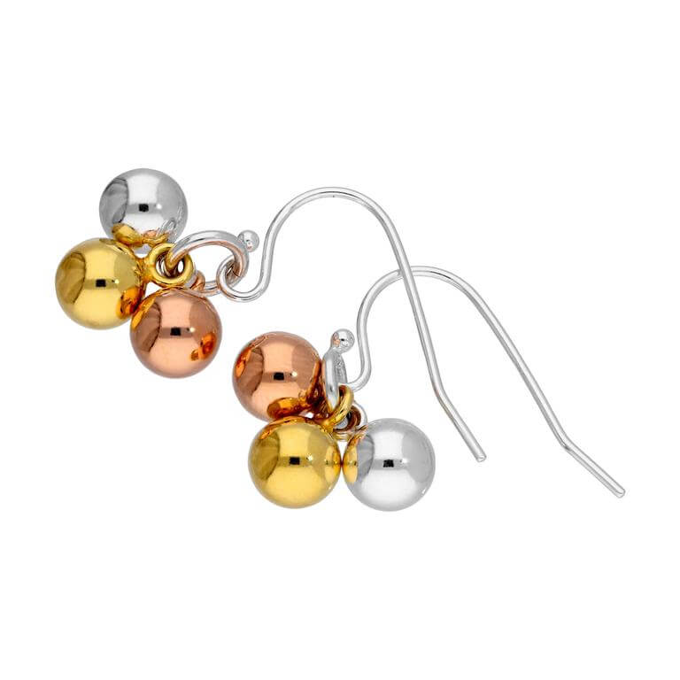 Triple Mixed Gold Plated Sterling Silver Bauble Fishhook Earrings