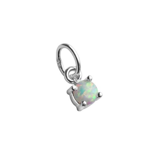 Sterling Silver Opal October Birthstone Claw Charm