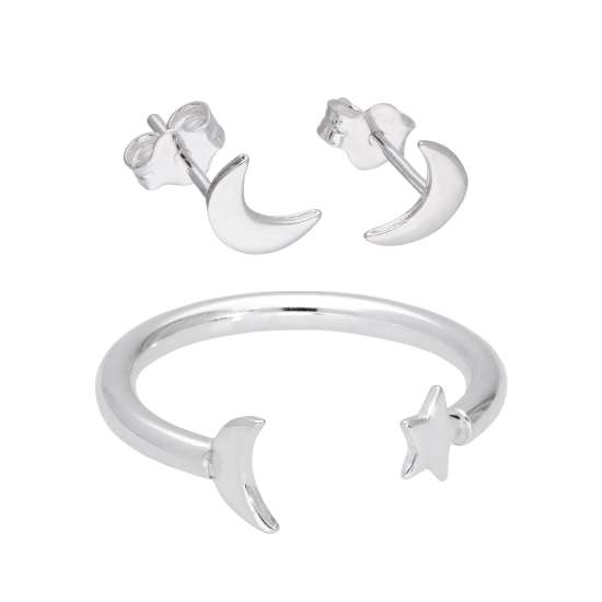 Sterling Silver Moon Ring & Stud Earrings Set