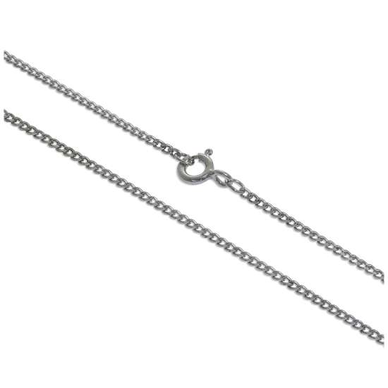 Rhodium Plated Sterling Silver 18 Inch Diamond Cut Curb Chain