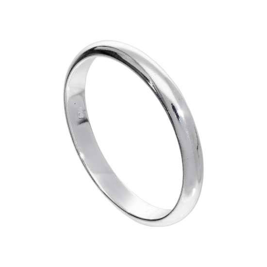 X Large Sterling Silver 3mm D Shaped Stacking Ring