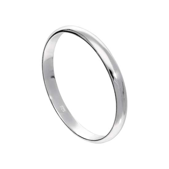X Large Sterling Silver 3mm D Shaped Wedding Band Ring