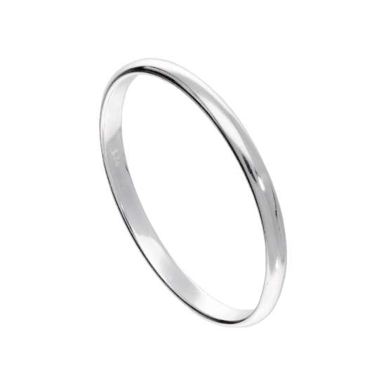 X Large Sterling Silver 2mm D Shaped Stacking Ring
