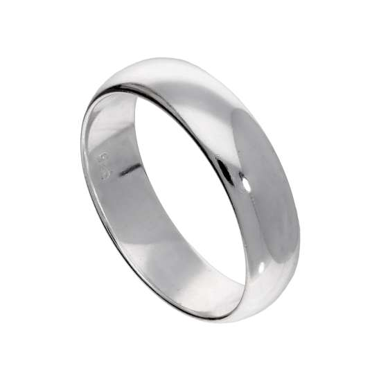 Sterling Silver Thick 6mm D Shaped Wedding Band Ring - Size I - Z
