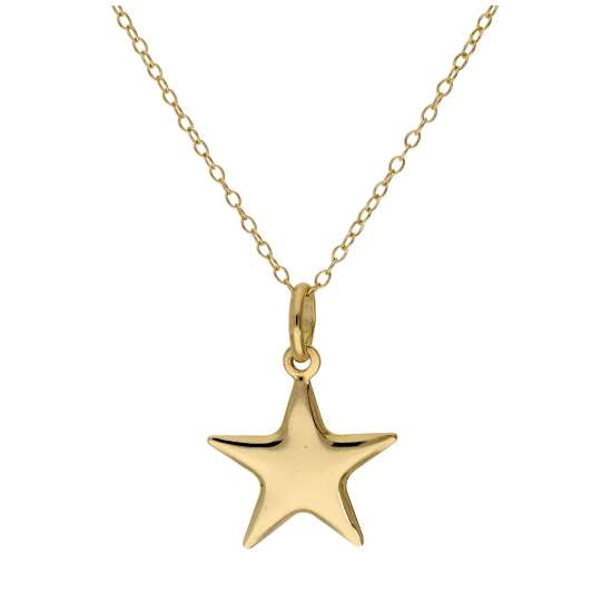 Gold Plated Sterling Silver Star Necklace - 16 - 22 Inches