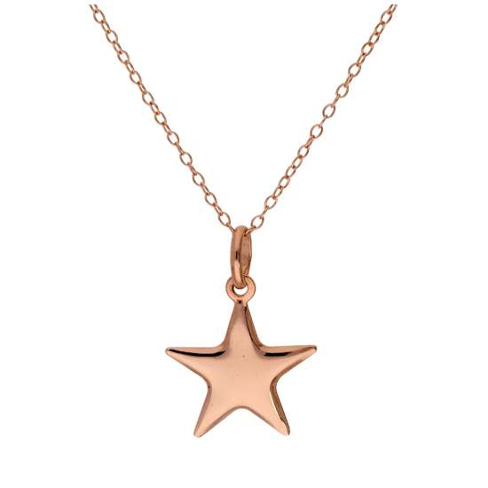 Rose Gold Plated Sterling Silver Star Necklace - 14 - 22 Inches