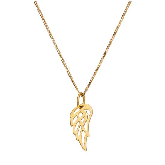 Gold Plated Sterling Silver Open Angel Wing Necklace - 14 - 32 Inches