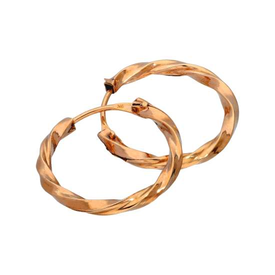 9ct Gold 14mm Twisted Sleeper Hoop Earrings