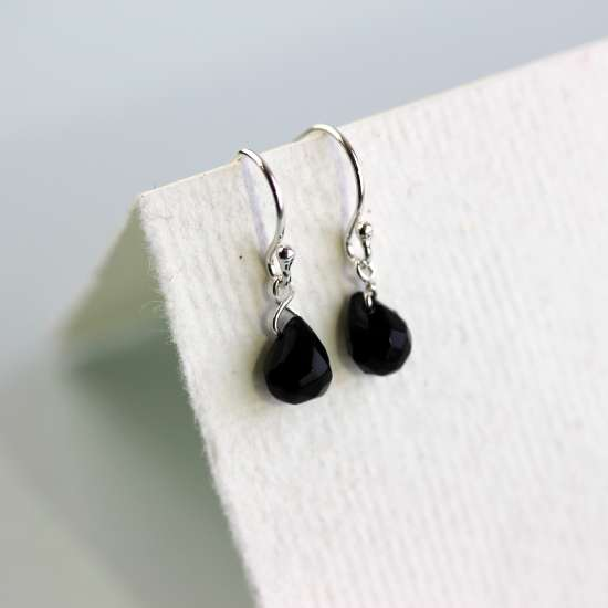 Sterling Silver Black Teardrop Crystal Bead Dangle Earrings