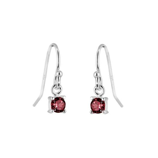 Sterling Silver Garnet CZ January Birthstone Dangle Earrings