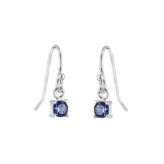 Sterling Silver Sapphire CZ September Birthstone Dangle Earrings