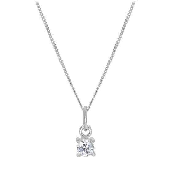 Sterling Silver Clear CZ April Birthstone Claw Necklace - 14 - 32 Inches