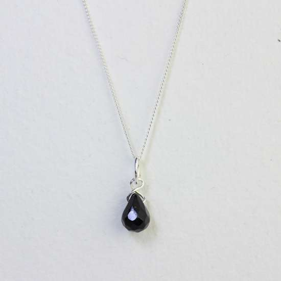 Sterling Silver Black Teardrop Crystal Bead Necklace - 14 - 32 Inches