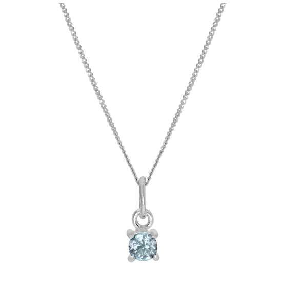 Sterling Silver Aquamarine CZ March Birthstone Claw Necklace - 14 - 32 Inches