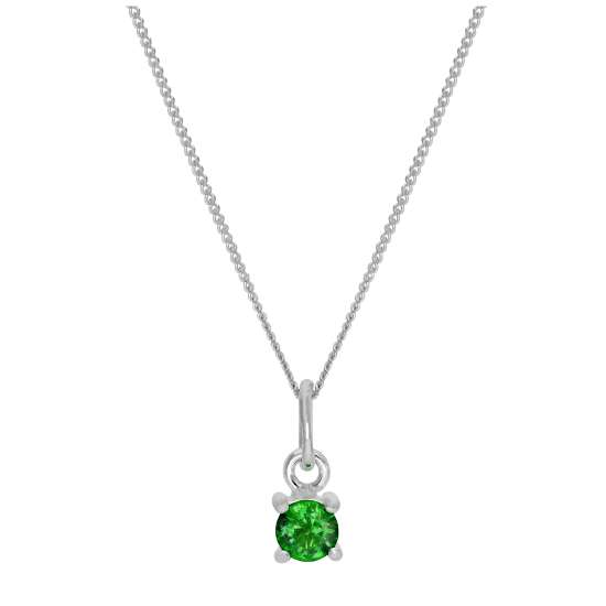 Sterling Silver Emerald CZ May Birthstone Claw Necklace - 14 - 32 Inches