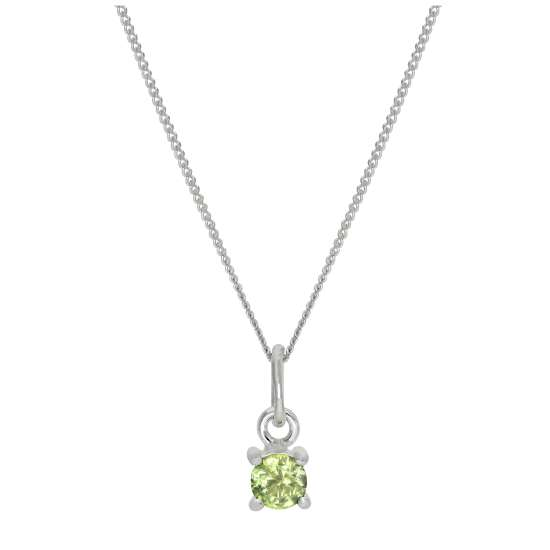 Sterling Silver Peridot CZ August Birthstone Claw Necklace - 14 - 32 Inches