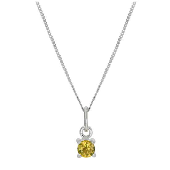 Sterling Silver Citrine CZ November Birthstone Claw Necklace - 14 - 32 Inches