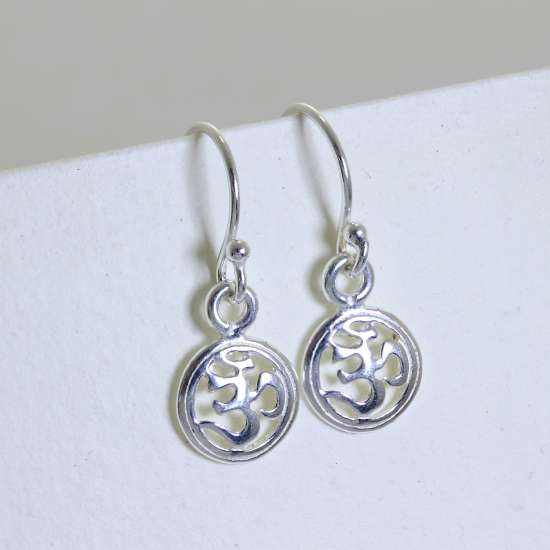 Sterling Silver Ohm Fishhook Dangle Earrings
