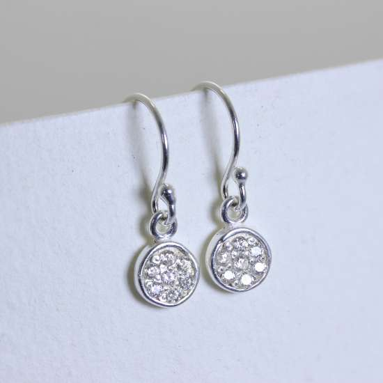 Small Sterling Silver Encrusted CZ Crystal Round Fishhook Dangle Earrings